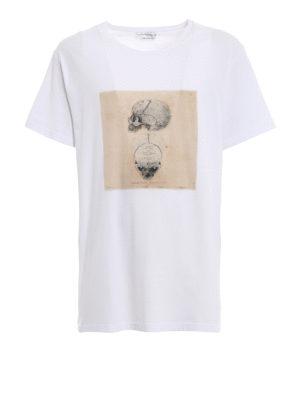 ALEXANDER MCQUEEN: t-shirt - T-shirt bianca con stampa Skull vintage