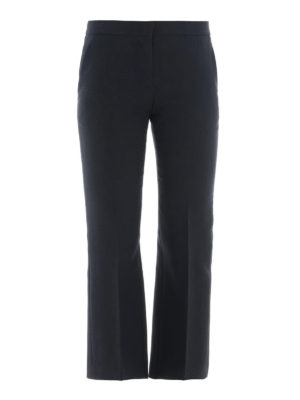 ALEXANDER MCQUEEN: Pantaloni sartoriali - Pantaloni Kickback crop in lana e seta