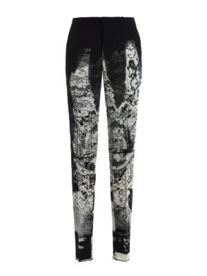 Alexander Mcqueen: Tailored & Formal trousers - London Map print wool trousers