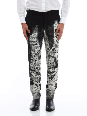 Alexander Mcqueen: Tailored & Formal trousers online - London Map print wool trousers