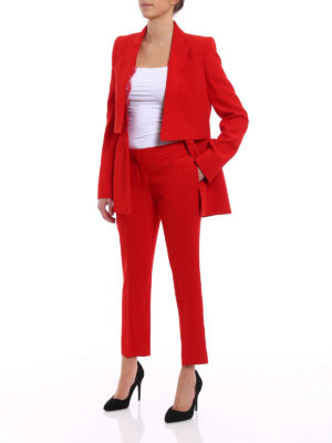 Alexander Mcqueen: Tailored & Formal trousers online - Red straight leg cropped trousers