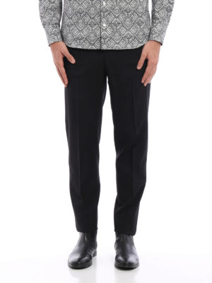 Alexander Mcqueen: Tailored & Formal trousers online - Satin band virgin wool trousers
