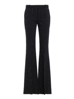ALEXANDER MCQUEEN: Pantaloni sartoriali - Pantaloni svasati in lana gessata