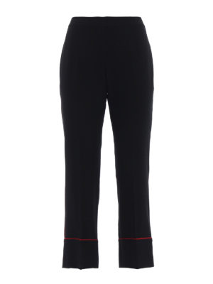 Alexander Mcqueen: Tailored & Formal trousers - Red piping black cady crop trousers