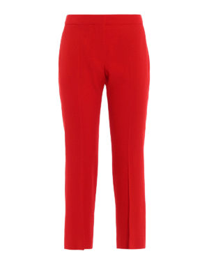 Alexander Mcqueen: Tailored & Formal trousers - Red straight leg cropped trousers