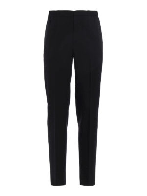 Alexander Mcqueen: Tailored & Formal trousers - Satin band virgin wool trousers