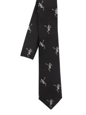 ALEXANDER MCQUEEN: cravatte e papillion - Cravatta in seta Dancing Skeleton