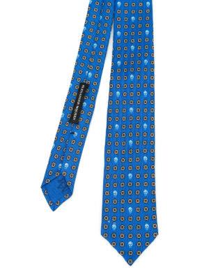 Alexander Mcqueen: ties & bow ties - Skull and poppy print silk tie