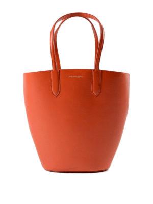 Alexander Mcqueen: totes bags - Basket Bag S orange leather tote