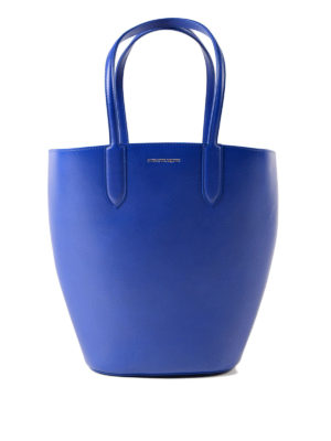 Alexander Mcqueen: totes bags - Basket Bag small blue leather tote