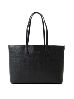 Alexander Mcqueen: totes bags - Black leather small shopping bag