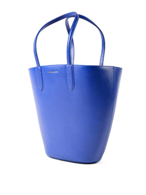 Alexander Mcqueen: totes bags online - Basket Bag small blue leather tote