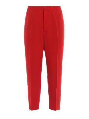 ALEXANDER MCQUEEN: pantaloni sport - Pantaloni sportivi in crepe rosso vivo