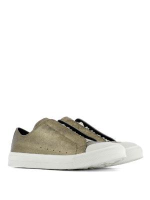 Alexander Mcqueen: trainers online - Metallic leather low top sneakers