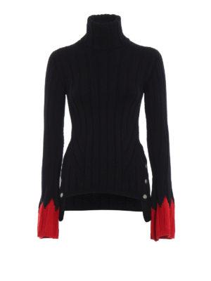 ALEXANDER MCQUEEN: maglia a collo alto e polo - Dolcevita in misto lana con polsini rossi