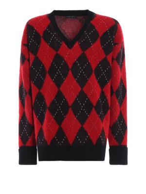 ALEXANDER MCQUEEN: maglia collo a v - Pull jacquard in misto lana e mohair a rombi