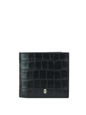 ALEXANDER MCQUEEN: portafogli - Portafoglio nero in pelle stampa cocco
