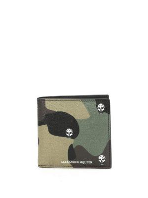 Alexander Mcqueen: wallets & purses - Camu print leather bi-fold wallet