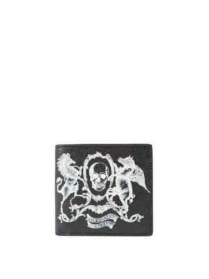 Alexander Mcqueen: wallets & purses - Coat of Arms print leather wallet