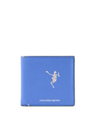 ALEXANDER MCQUEEN: portafogli - Portafogli Dancing Skeleton azzurro