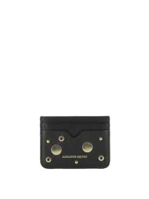 Alexander Mcqueen: wallets & purses - Leather card holder with eyelets