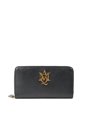 Alexander Mcqueen: wallets & purses - Leather wallet with maxi logo