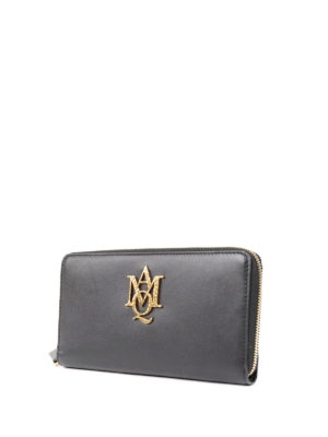Alexander Mcqueen: wallets & purses online - Leather wallet with maxi logo
