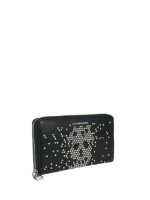 Alexander Mcqueen: wallets & purses online - Studded Skull zip around wallet