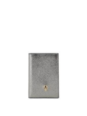 ALEXANDER MCQUEEN: portafogli - Portafoglio billfold argento dettaglio Skull
