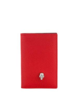 ALEXANDER MCQUEEN: portafogli - Portacarte in pelle a grana rossa con Skull