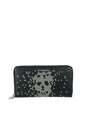 Alexander Mcqueen: wallets & purses - Studded Skull zip around wallet