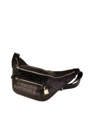 Alexander Wang: belt bags online - Padlock croco print leather bum bag