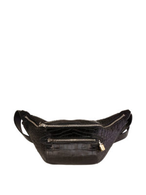 Alexander Wang: belt bags - Padlock croco print leather bum bag
