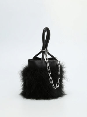 Alexander Wang: Bucket bags online - Feather and chain detail bucket bag