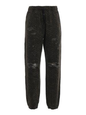 ALEXANDER WANG: pantaloni casual - Pantaloni in denim animalier con strappi