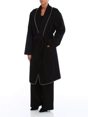 Alexander Wang: knee length coats online - Wool blend embellished coat