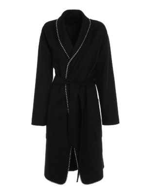 Alexander Wang: knee length coats - Wool blend embellished coat