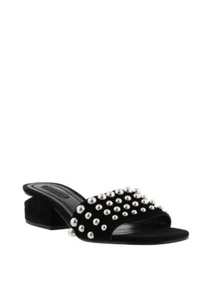Alexander Wang: mules shoes online - Embellished suede mules