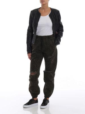ALEXANDER WANG: pantaloni casual online - Pantaloni in denim animalier con strappi