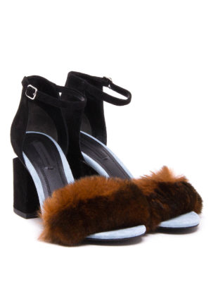 Alexander Wang: sandals online - Abby suede and fur sandals