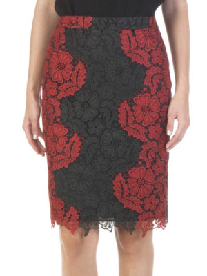 Alice+Olivia: Knee length skirts & Midi online - Farrel floral lace pencil skirt