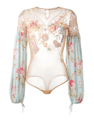 Amen: blouses - Floral embroidered tulle bodysuit