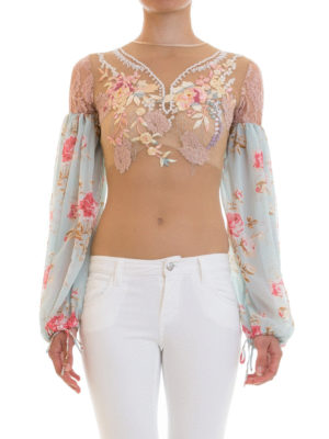 Amen: blouses online - Floral embroidered tulle bodysuit