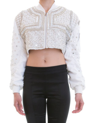 Amen: bombers online - Embroidered crop bomber jacket