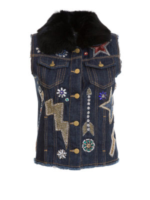 Amen: denim jacket - Jewel embroidered sleeveless jacket