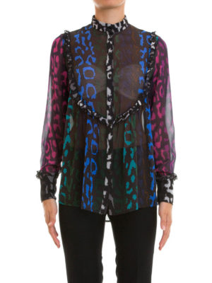 Amen: shirts online - Printed sheer silk shirt
