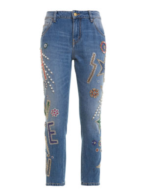 Amen: straight leg jeans - Jewel embroidered crop jeans