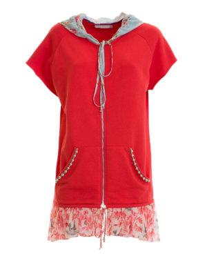 Amen: Sweatshirts & Sweaters - Floral silk panelled sweatshirt