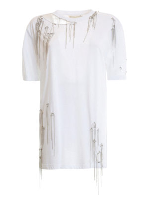 Amen: t-shirts - Crystal and chain embellished Tee