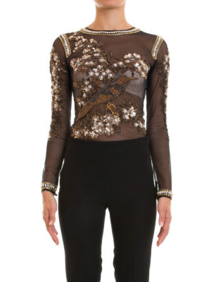 Amen: Tops & Tank tops online - Long sleeve sheer tulle jewel body